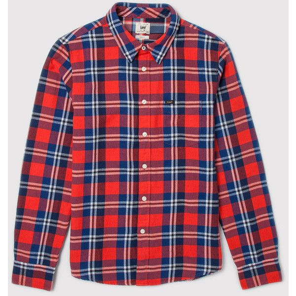 Lee 101 Lee Western Shirt - Lava Red ($42) ❤ liked on Polyvore featuring men's fashion, men's clothing, men's shirts, men's casual shirts and lava red
