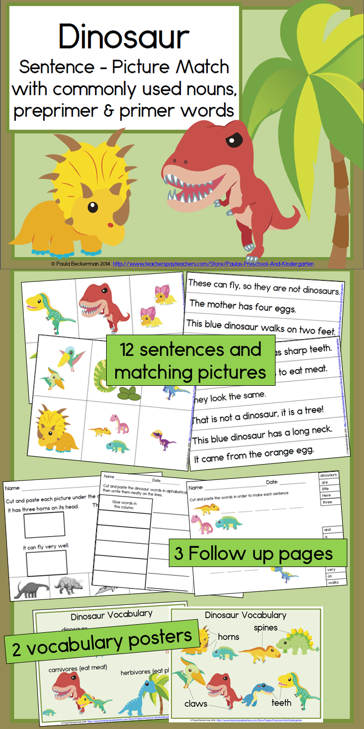 small resolution of Engage your students with this fun reading center! Dinosaur Sentence  Picture Match has 12 senten…   Literacy centers kindergarten