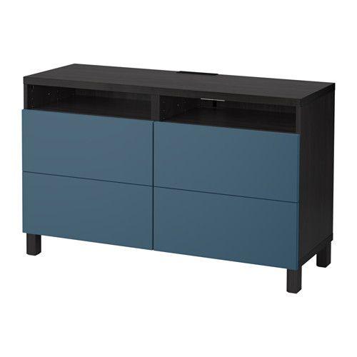 BESTÅ TV Unit With Drawers, Black-brown, Valviken Dark Blue Tv