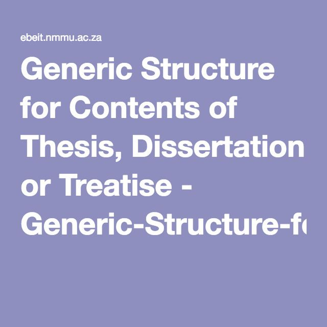 Generic Structure For Content Of Thesi Dissertation Or Treatise Pdf Built Environment Information Technology