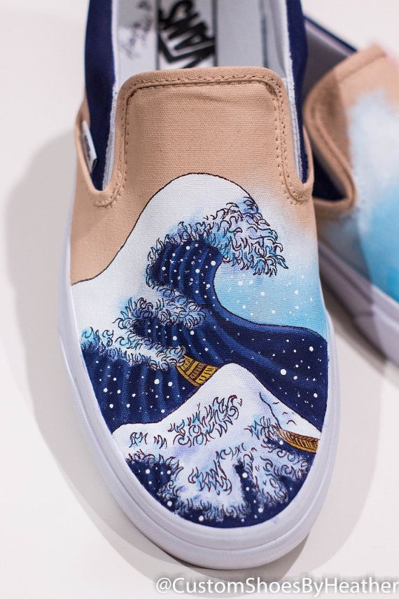 dfc7e02c3310 The Great Wave off Kanagawa featuring Lilo and Stitch Hand Painted Shoes