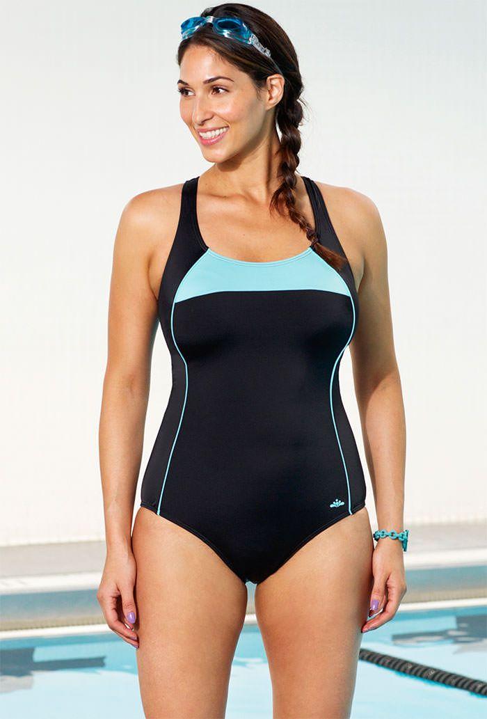 Xtra Life® Lycra® Aquabelle Mint Border Plus Size Cross Back ...
