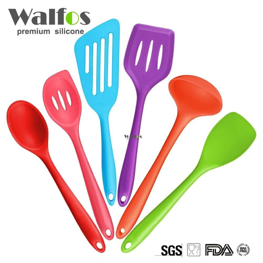Best kitchen utensil set - Walfos Silicone Kitchen Utensils 6 Piece Cooking Utensil Set Spatula Spoon Ladle Spaghetti