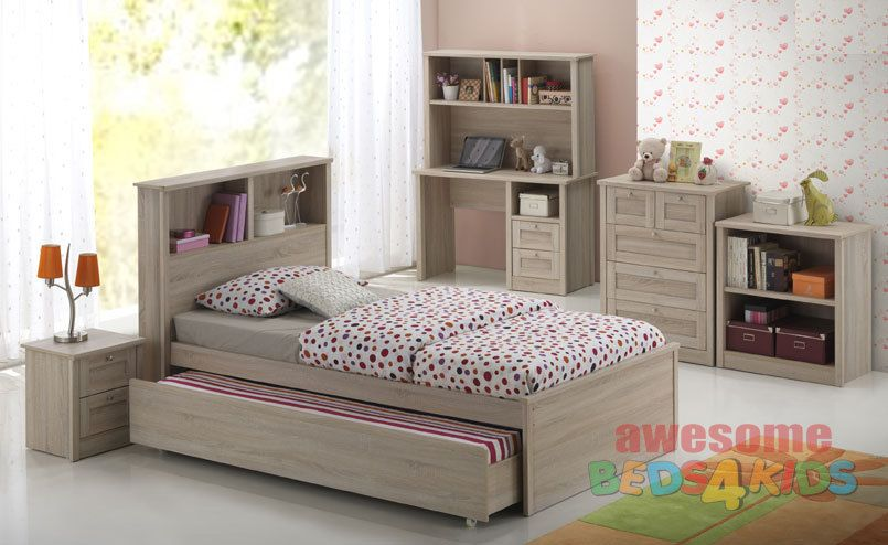 Broadbeach Trundle Bed Single with Free 2 Drawer Bedside Table - Awesome Beds 4 Kids