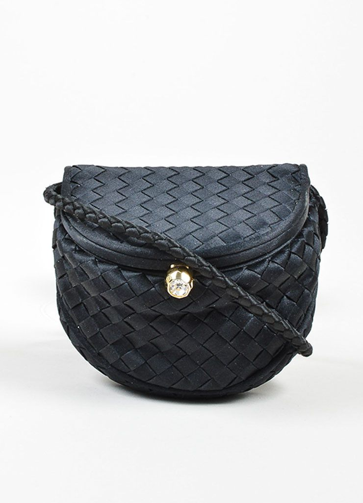 Black Bottega Veneta Satin Intrecciato Woven Mini Cross Body Flap ... 5befcf57e17f3