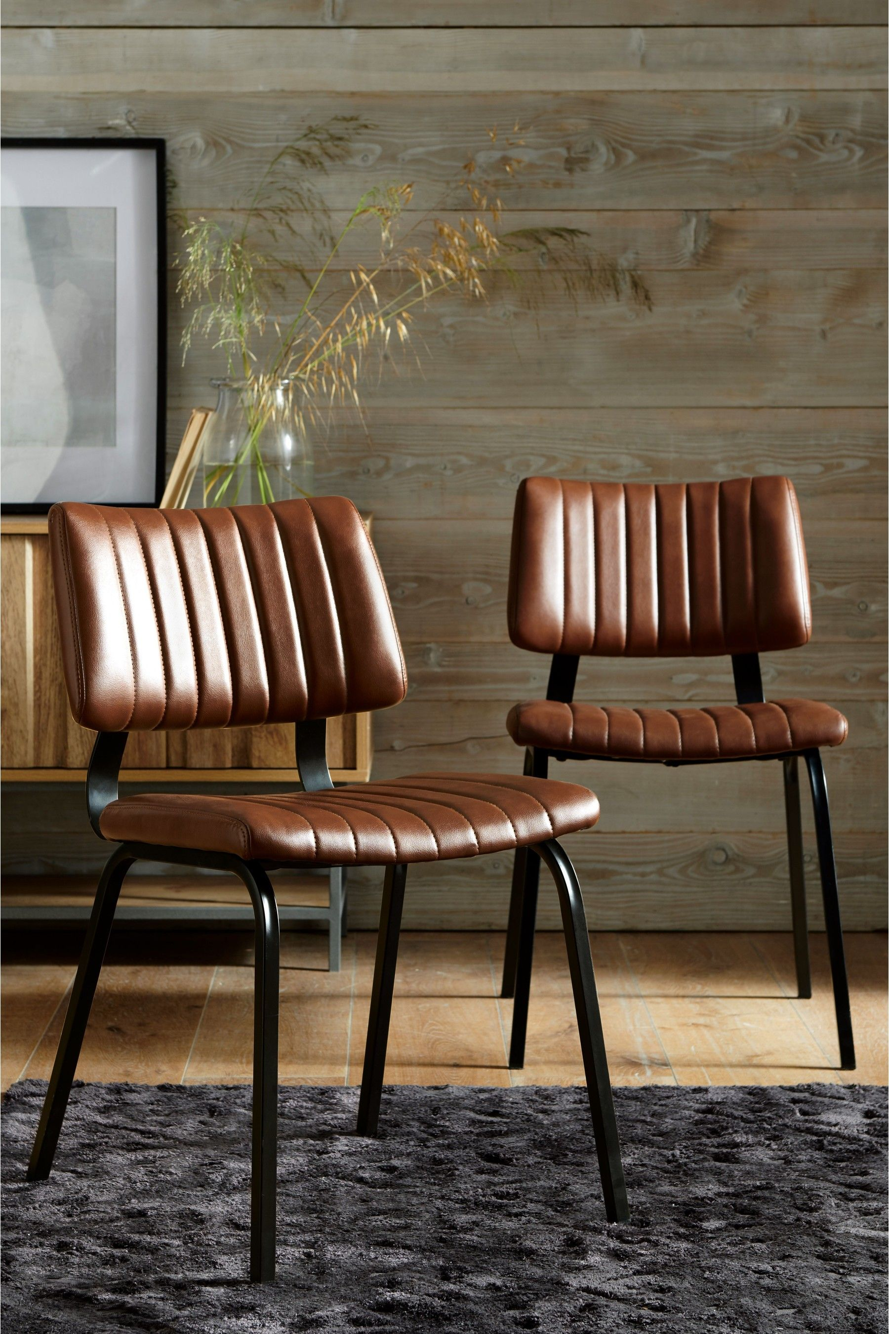 Next Set Of 2 Aiden Dining Chairs With Black Legs Tan Dining Chairs Industrial Dining Chairs Dining Chair Loft