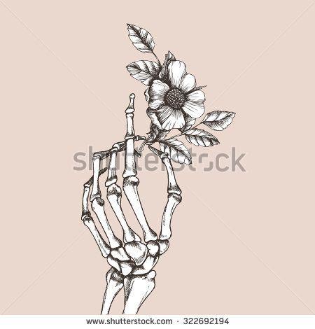4945c15529251 Hand skeleton with flower. Vector illustration.   Tattoos ...