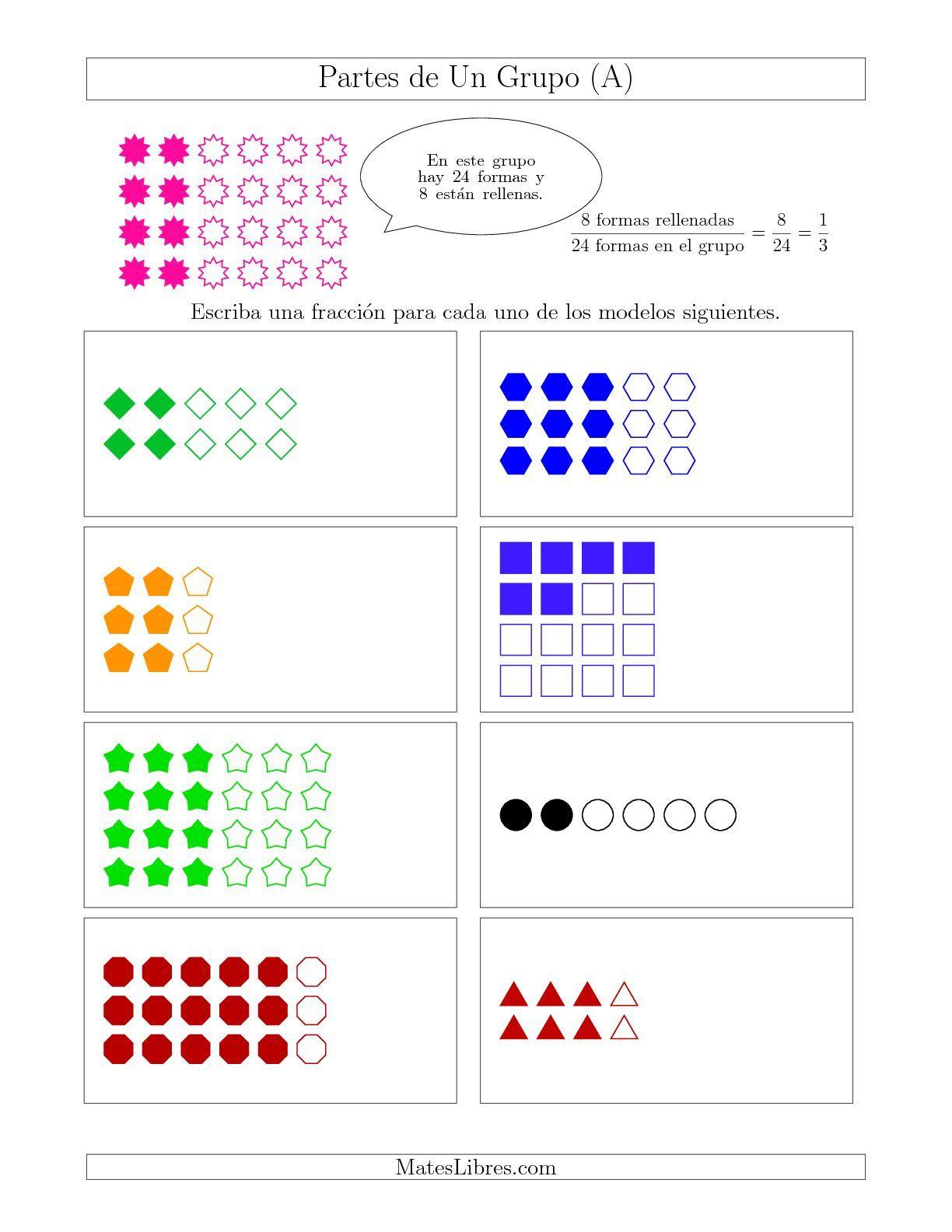 La hoja de ejercicios de matemáticas de Modelos de Fracciones de Un ...