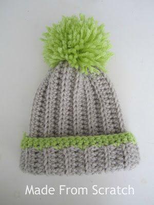 Made From Scratch: Slouchy pom pom beanie, free crochet pattern ...