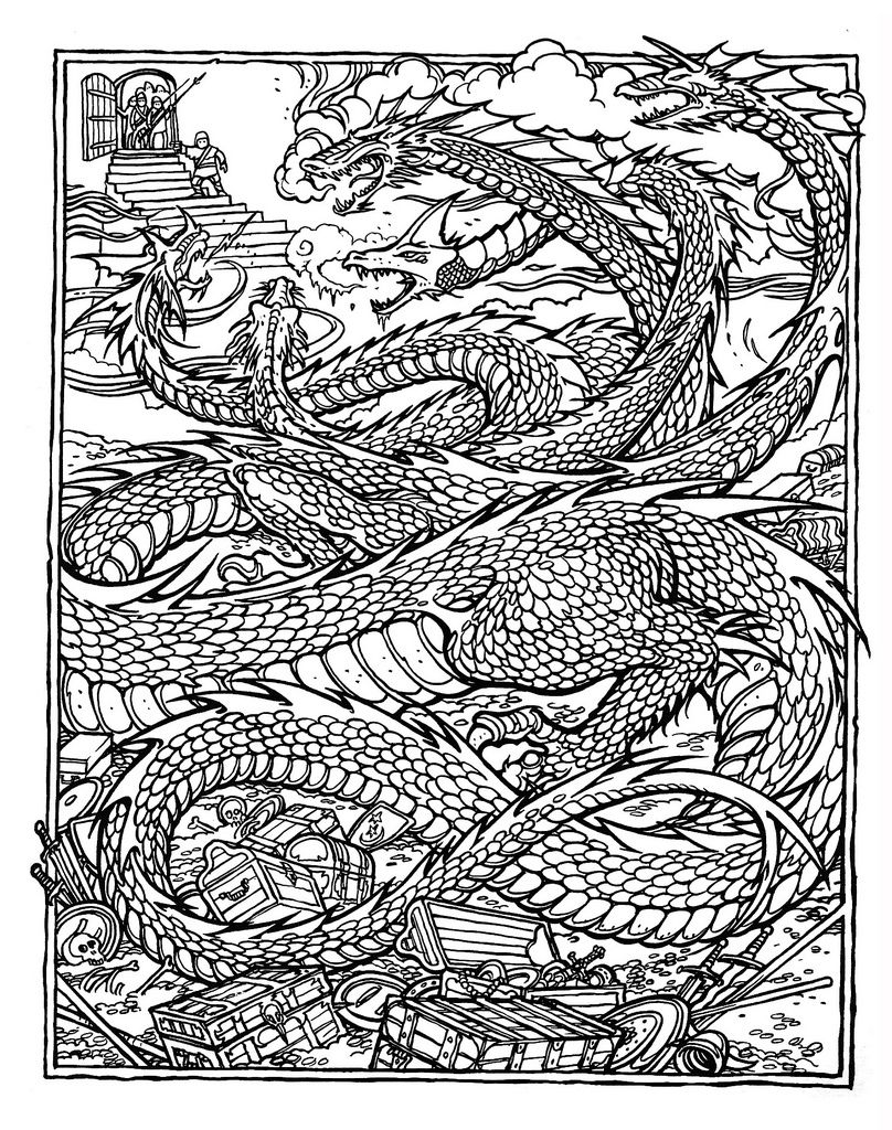 Printable coloring pages of dragons - Greg Irons The Official Advanced Dungeons And Dragons Coloring Album Tiamat Queen Of