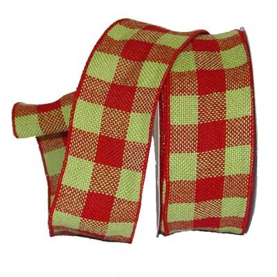 """Faux Burlap Ribbon 2.5"""" x 25 yards Color: Red and Fresh Green Check Material: 100% Polyester Wire Edge"""