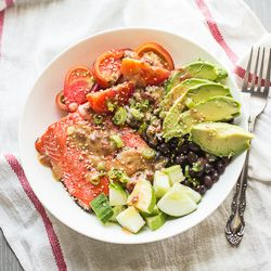 Salmon Barley Bowl with Miso Chipotle Sauce {recipe}
