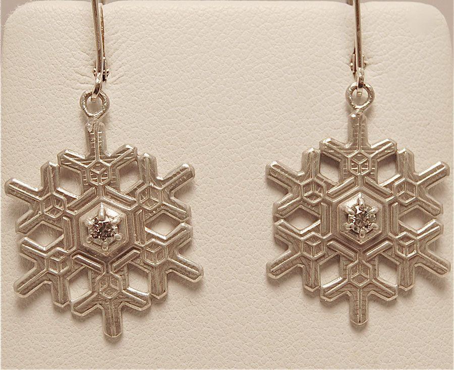 "American Charm - ""Blizzard"" Snowflake Earrings with Diamond on Euro Wire #snowflake #earrings #AmericanCharm"