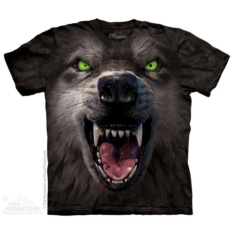 men's t-shirt big face attack wolf stonewashed multicolored graphic tee new  #TheMountain #ShortSleeve