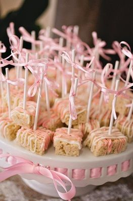 Baby Shower Snack Rice Crispy With White Chocolate Drizzle Pink
