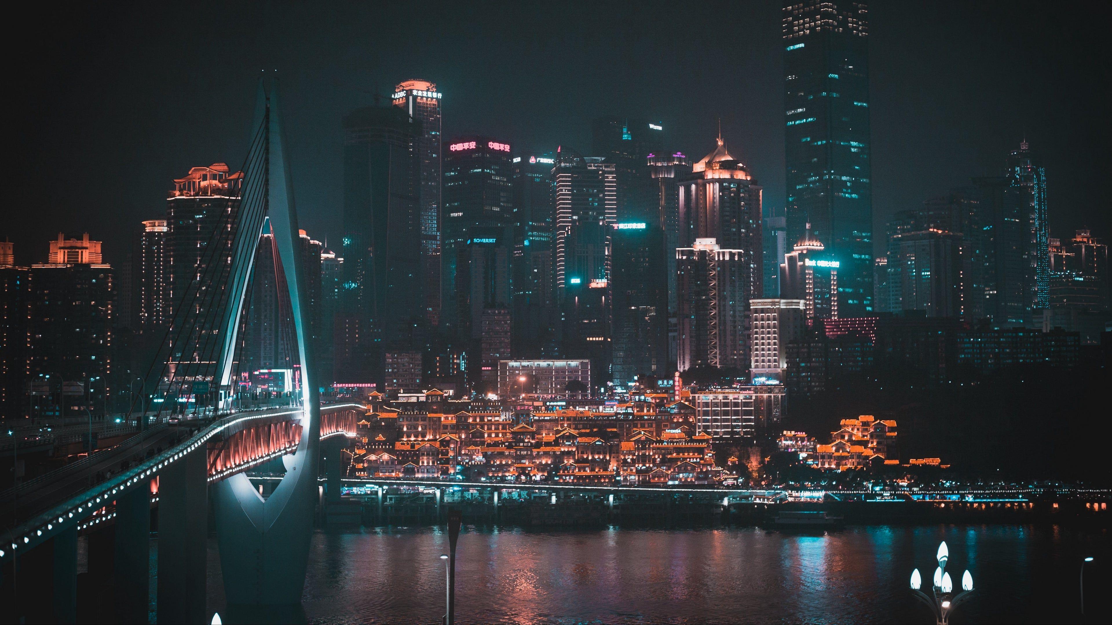 Night City Buildings 4k Wallpaper Night City Photo Nightscape