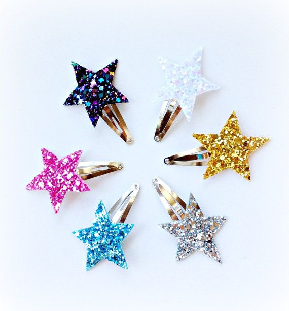 Star+Glitter+Hair+Clips+Baby+Girl+Snap+Clips+by+littleblueolive,+$9.50 #babyhairaccessories