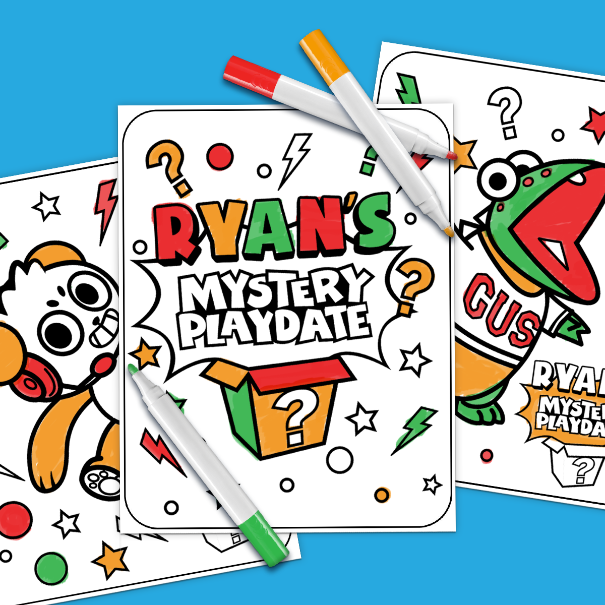 Ryan S Mystery Playdate 3 Marker Challenge Ryan Toys Playdate Nick Jr Coloring Pages