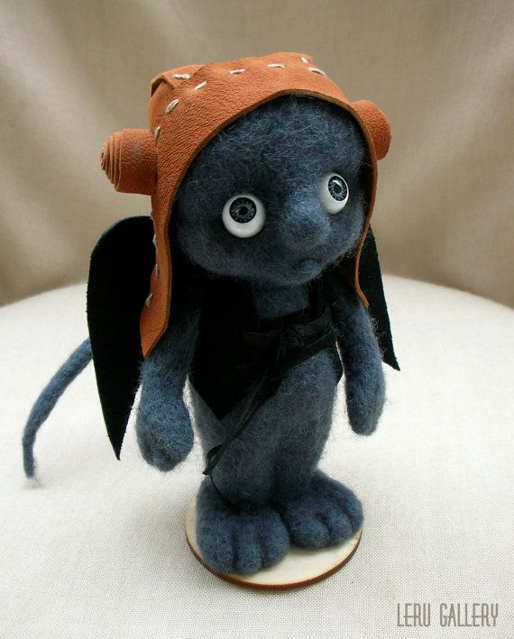 Monster aviator needle felted. Soft sculpture. Art doll. Felt doll. Steampunk. Collectible interior doll. Felted doll. Home decor.
