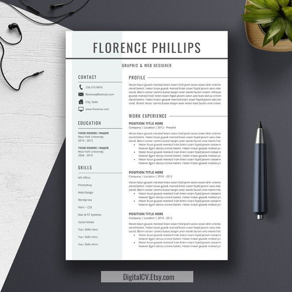Professional Resume Template Cv Template For Word By Digitalcv