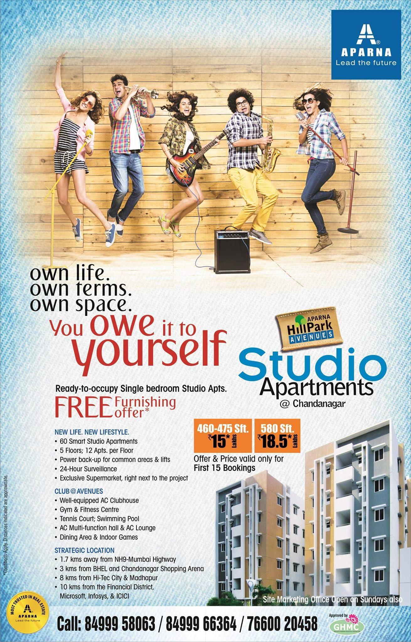 Aparna hillpark avenues studio apartments gated