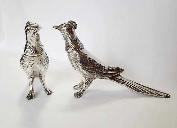Pair of silver plated pheasant cruets by Viking by MaisonMaudie, $35.00