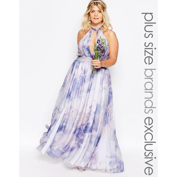 Fame And Partners Plus River Pastel Maxi Dress ($255) ❤ liked on Polyvore featuring dresses, multi, plus size, women plus size dresses, plus size maxi dresses, maxi dress, white halter top and tall maxi dresses
