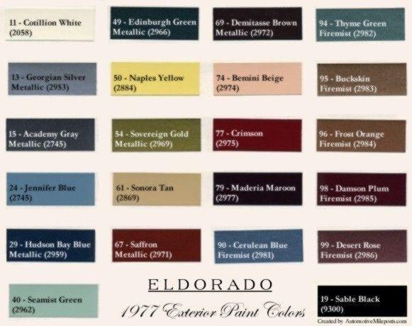 1977 Cadillac Fleetwood Eldorado Paint Color Chips Codes