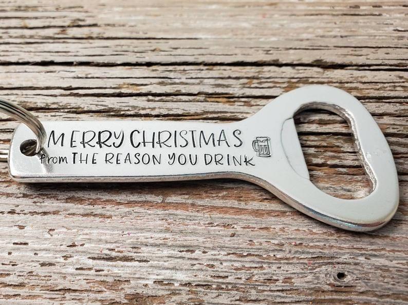 Novelty Bottle Opener Birthday // Xmas Gift DADS KEYRING Key on Key ring