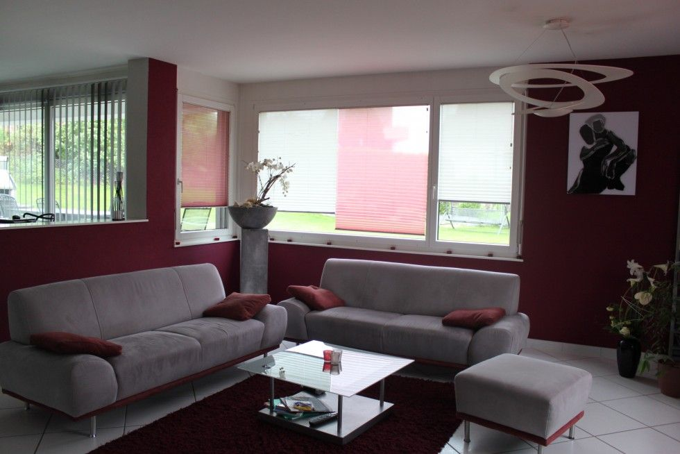 Beautiful Burgundy And Grey Living Room Modern House