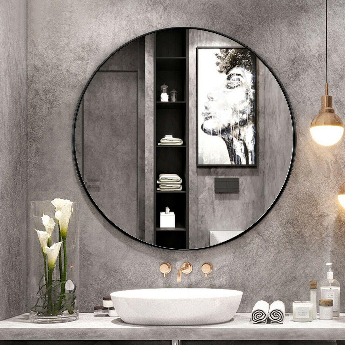 "27.5"" Modern Metal WallMounted Round Mirror for Bathroom"