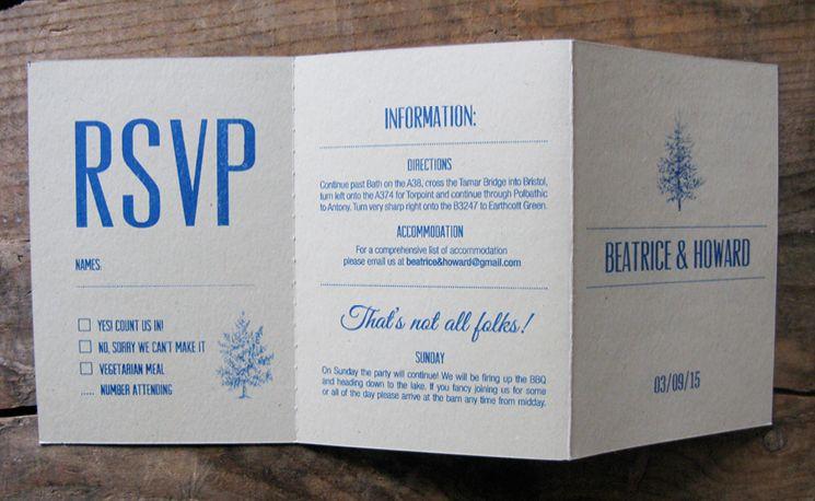 3 in 1 wedding invitation printed by Risograph Wedding Pinterest