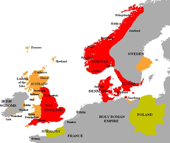 CNUTS NORTH SEA EMPIRE The North Sea Empire As Ruled By Cnut - Norway map vikings