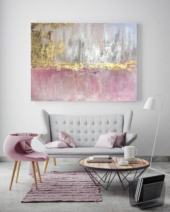 Gold Pink Abstraktes OriginalGemälde auf Leinwand 48 x 36, Gold Pink Silber Glitzer Abstrakte Kunst, Irena Orlov OriginalGemälde ❘❘❙❙ bei uns in Originalgemälde zu stecken! ❘❙❙ Starte und baue deine Kunstsammlung. Spezifikationen: - Originalgemälde auf Leinwand. - 1,5 tiefe Holzstützen (zum