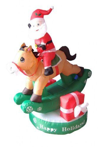 5 foot animated christmas inflatable santa claus on rocking horse yard decoration by bzb goods httpwwwamazoncomdpb00fatdlcuref - Christmas Horse Yard Decorations