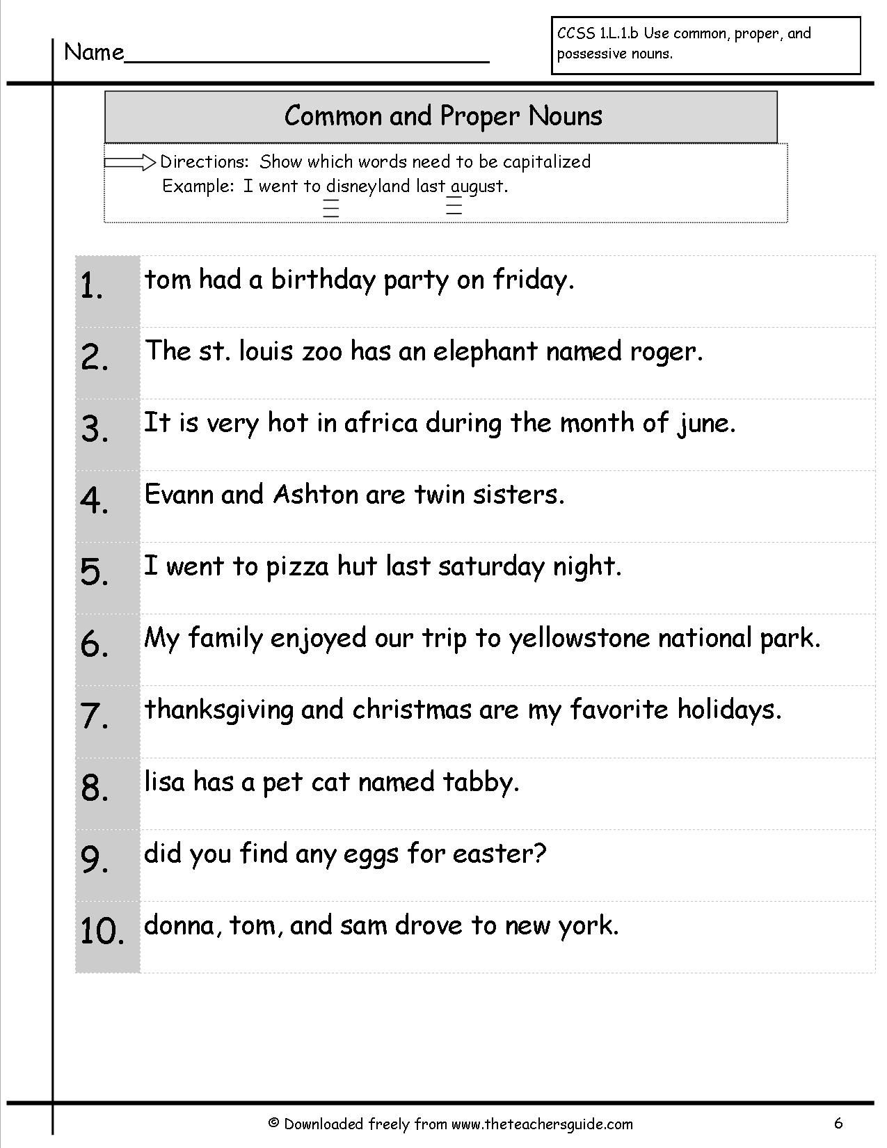 Www Theteachersguide Com With Images Nouns Worksheet Common