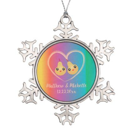 Colorful Rainbow Perfect Pear Cute Wedding Favor Snowflake Pewter