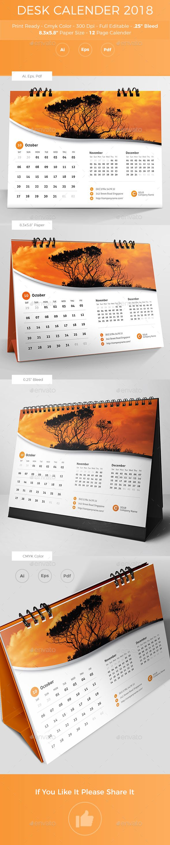 Desk Calender 2018 Ai Illustrator Template And Font Logo