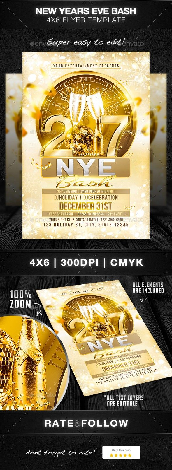 Dance Disco Elegant End Of Year Festive Flyer Template Hot Live Music Luxury Modern New Years Eve