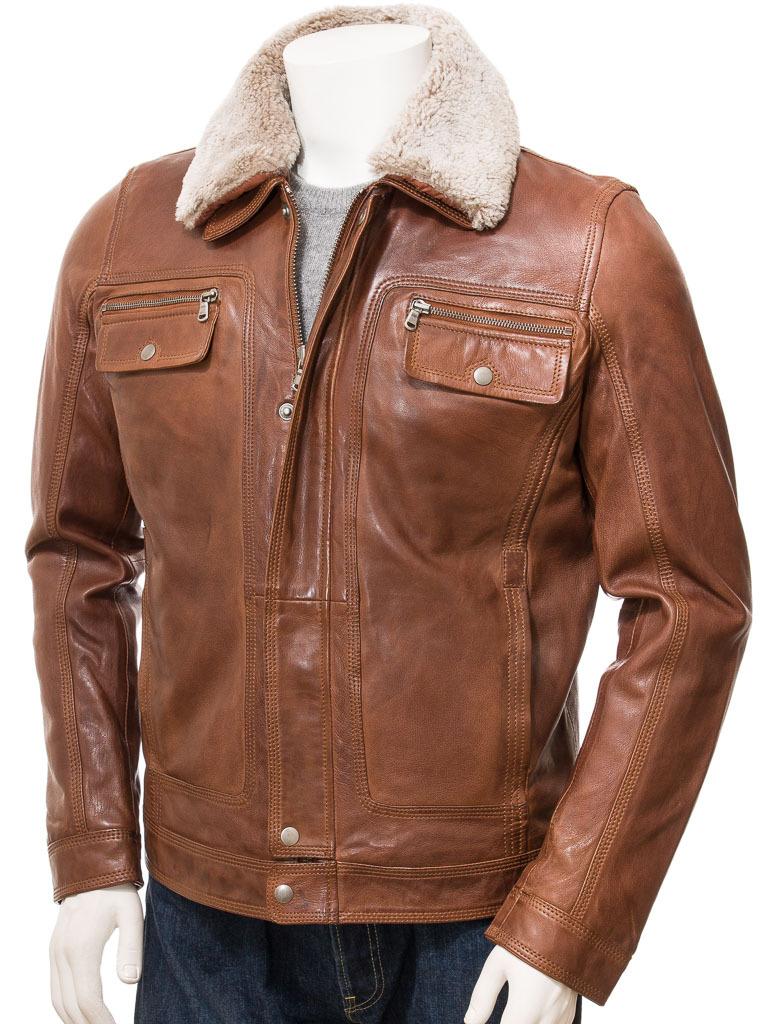 Men S Distressed Dark Brown Trucker Soft Leather Jacket Mens Fur Collar T Shirt Cafe Racer Leather Jacket Leather Jacket Jackets [ 1024 x 768 Pixel ]