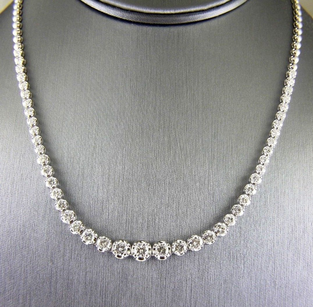 This Is A Genuine Fancy Round Riviera Diamond Lady 39 S Tennis Necklace It Has A Ctw Of 5 22ct And Weighs 20 9 Grams The Di Tennis Necklace Necklace Diamond