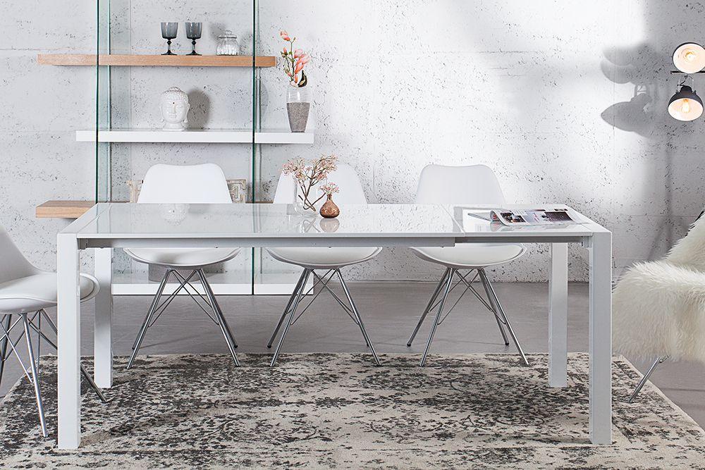 Ausziehbarer Design Esstisch X7 weiß Hochglanz 140-215 cm ...
