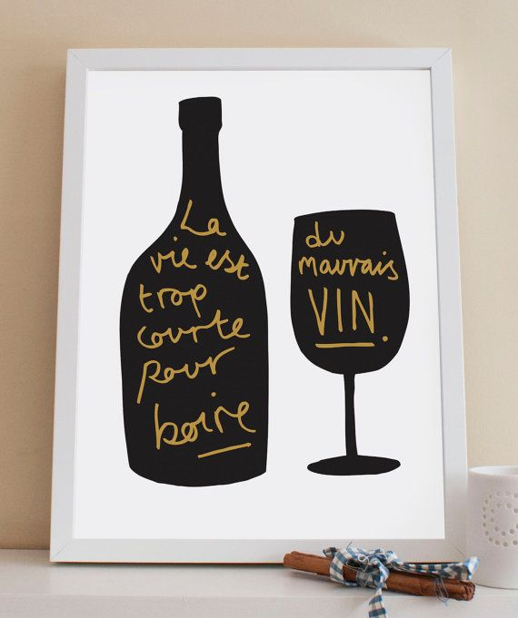 A4 french wine print kitchen print by oldenglishco on etsy - Einweihungsparty auf englisch ...