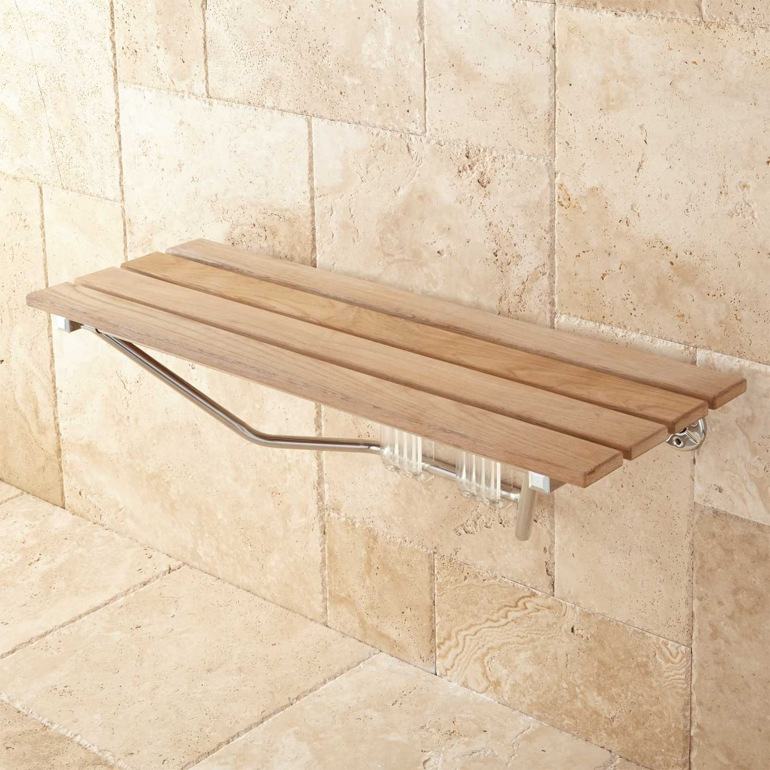 Bathrooms Signature Hardware 36 Folding Teak Shower Seat Safe And Comfortable This Shower Seat That Ea Teak Shower Teak Shower Bench Teak Shower Seat