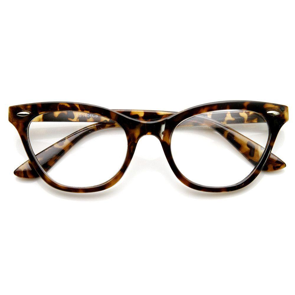 b33be856c8 Womens Retro 1950 s Fashion Clear Lens Cat Eye Glasses 9276