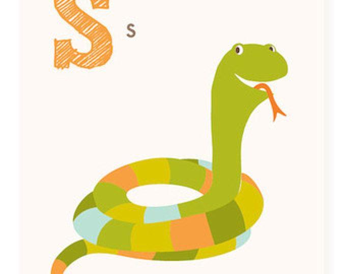 ABC card, S is for Snake, ABC wall art, alphabet flash cards ...