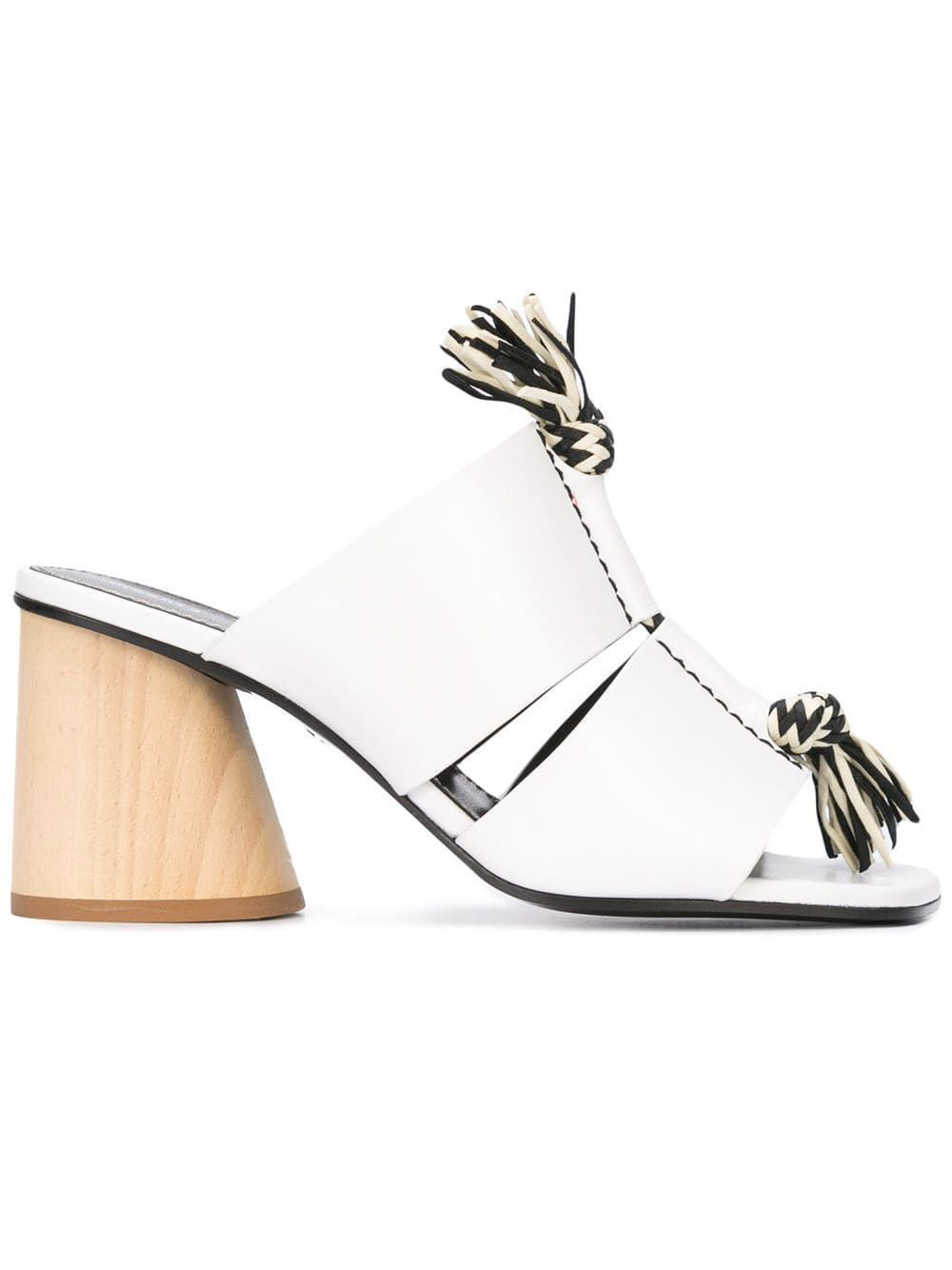Women S Knotted Rope Block Heel Mule Sandals In Optic White Rope Sandals Heeled Mules Sandals Heeled Mules