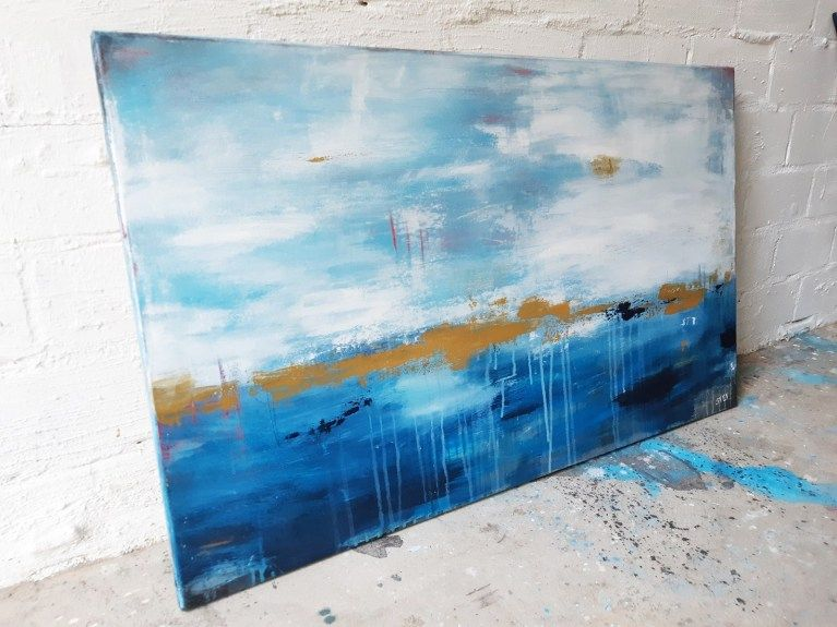 noch ein tag am meer 2 bild abstrakt in blau und gold abstrakte bilder malerei paul sinus art kunst gemälde vögel