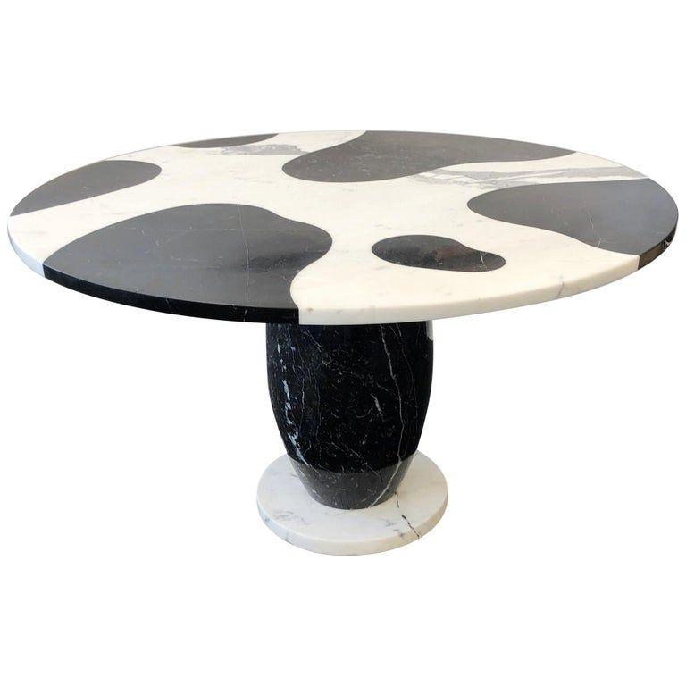 Italian Carrara And Black Marble Dining Table In 2020 Dining Table Marble Italian Dining Table Marble Dining
