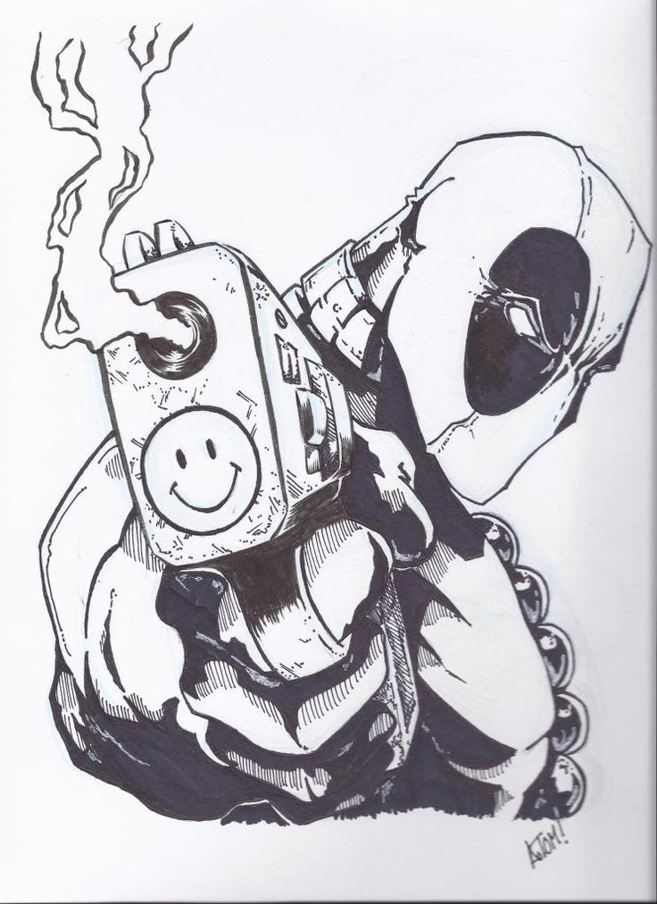 Tattoo Line Drawing Books : Since deadpool is kinda my favorite comic book character